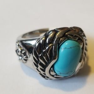 Stainless steel turquois ring.